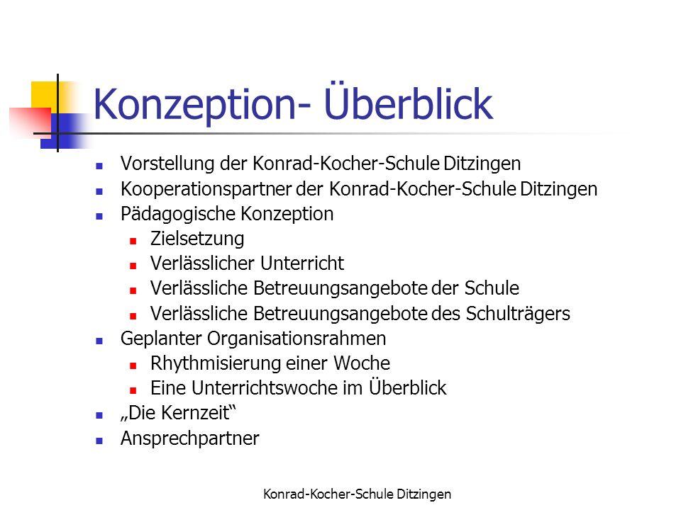 Konrad-Kocher-Schule Ditzingen Konzeption- Überblick Vorstellung der Konrad-Kocher-Schule Ditzingen Kooperationspartner der Konrad-Kocher-Schule Ditzi