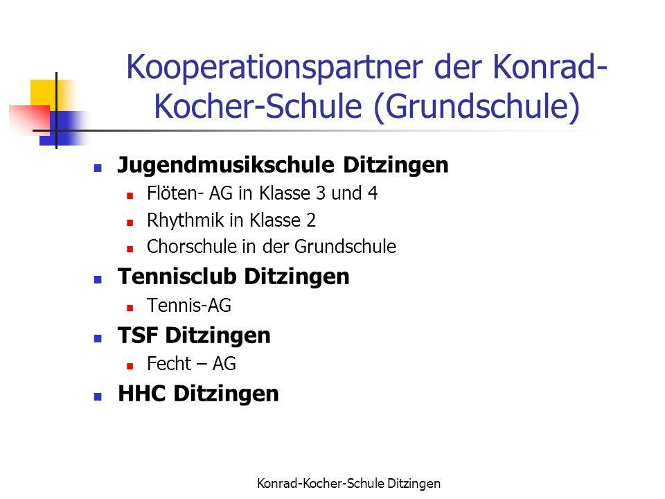 Konrad-Kocher-Schule Ditzingen Kooperationspartner der Konrad- Kocher-Schule (Grundschule) Jugendmusikschule Ditzingen Flöten- AG in Klasse 3 und 4 Rh