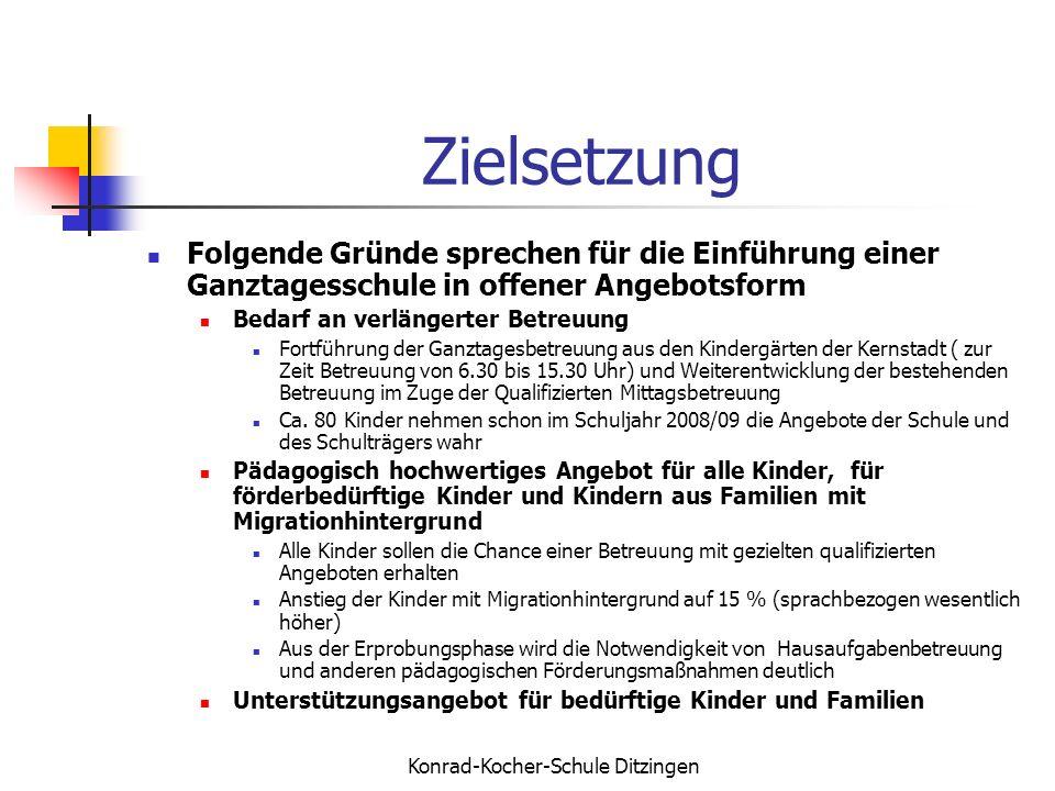 Konrad-Kocher-Schule Ditzingen Zielsetzung Folgende Gründe sprechen für die Einführung einer Ganztagesschule in offener Angebotsform Bedarf an verläng