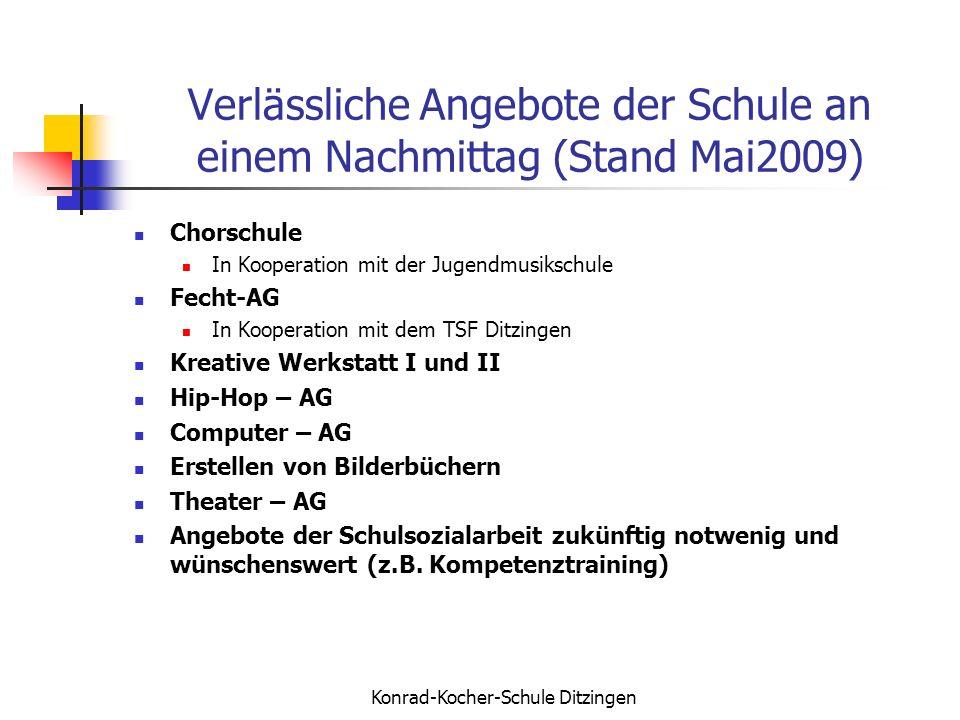 Konrad-Kocher-Schule Ditzingen Verlässliche Angebote der Schule an einem Nachmittag (Stand Mai2009) Chorschule In Kooperation mit der Jugendmusikschul