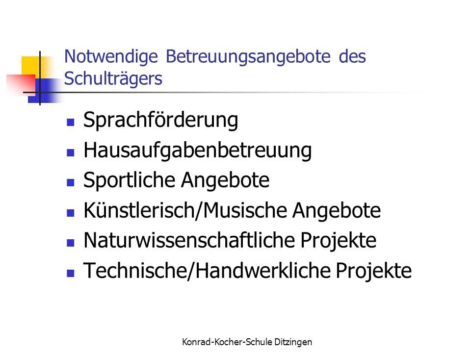 Konrad-Kocher-Schule Ditzingen Notwendige Betreuungsangebote des Schulträgers Sprachförderung Hausaufgabenbetreuung Sportliche Angebote Künstlerisch/M