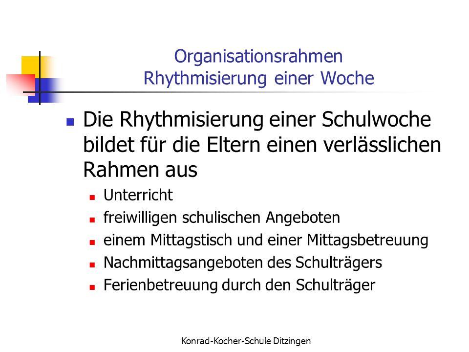 Konrad-Kocher-Schule Ditzingen Organisationsrahmen Rhythmisierung einer Woche Die Rhythmisierung einer Schulwoche bildet für die Eltern einen verlässl