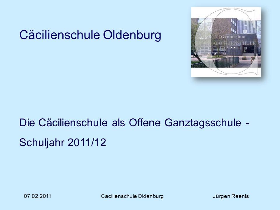 07.02.2011Cäcilienschule OldenburgJürgen Reents Offene Ganztagsschule – Ausblick Ganz neue Chancen und Perspektiven bietet die Mensa.