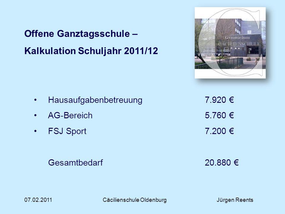 07.02.2011Cäcilienschule OldenburgJürgen Reents Offene Ganztagsschule – Kalkulation Schuljahr 2011/12 Hausaufgabenbetreuung 7.920 AG-Bereich5.760 FSJ