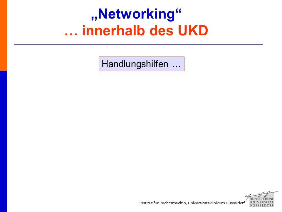 Institut für Rechtsmedizin, Universitätsklinikum Düsseldorf Networking … innerhalb des UKD Handlungshilfen …