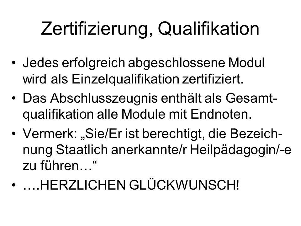 Zertifizierung, Qualifikation Jedes erfolgreich abgeschlossene Modul wird als Einzelqualifikation zertifiziert. Das Abschlusszeugnis enthält als Gesam