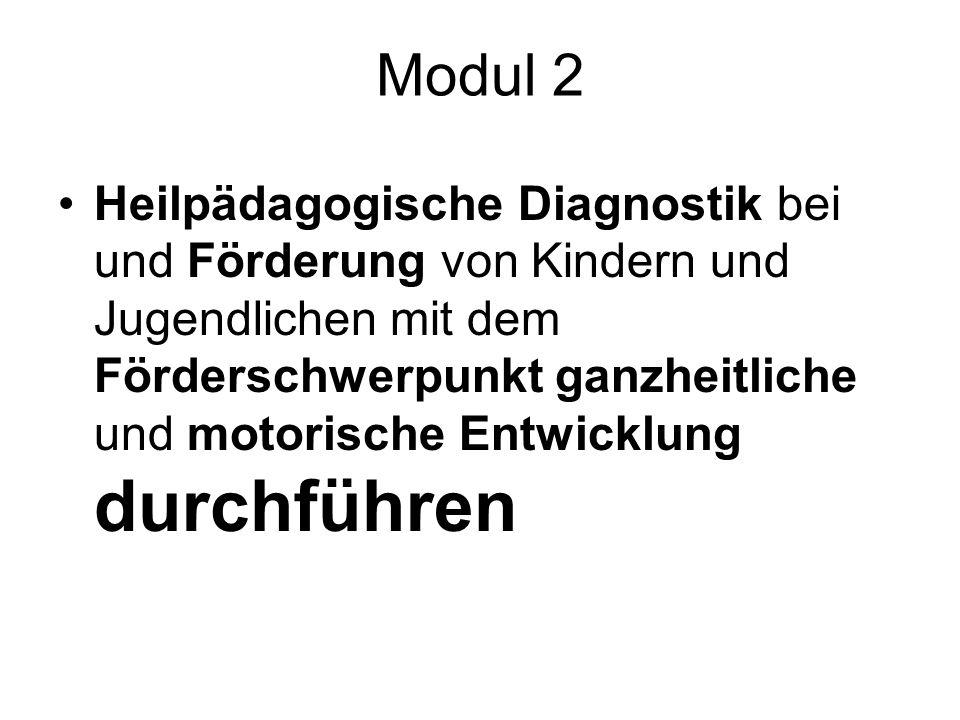 Modul 2 Heilpädagogische Diagnostik bei und Förderung von Kindern und Jugendlichen mit dem Förderschwerpunkt ganzheitliche und motorische Entwicklung