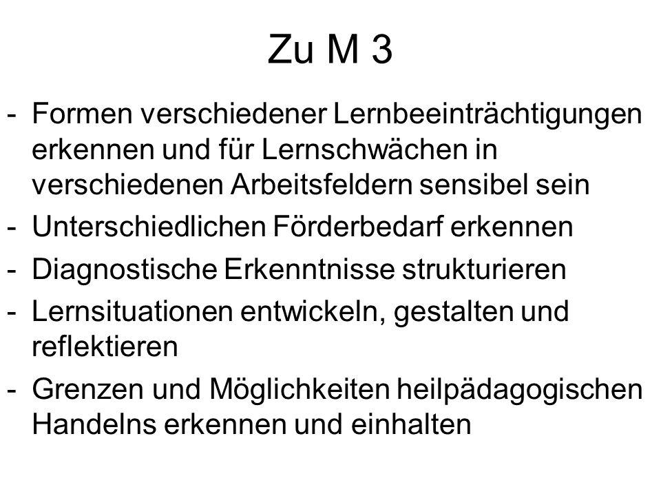 Zu M 3 -Formen verschiedener Lernbeeinträchtigungen erkennen und für Lernschwächen in verschiedenen Arbeitsfeldern sensibel sein -Unterschiedlichen Fö