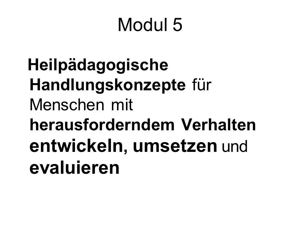 Modul 5 Heilpädagogische Handlungskonzepte für Menschen mit herausforderndem Verhalten entwickeln, umsetzen und evaluieren