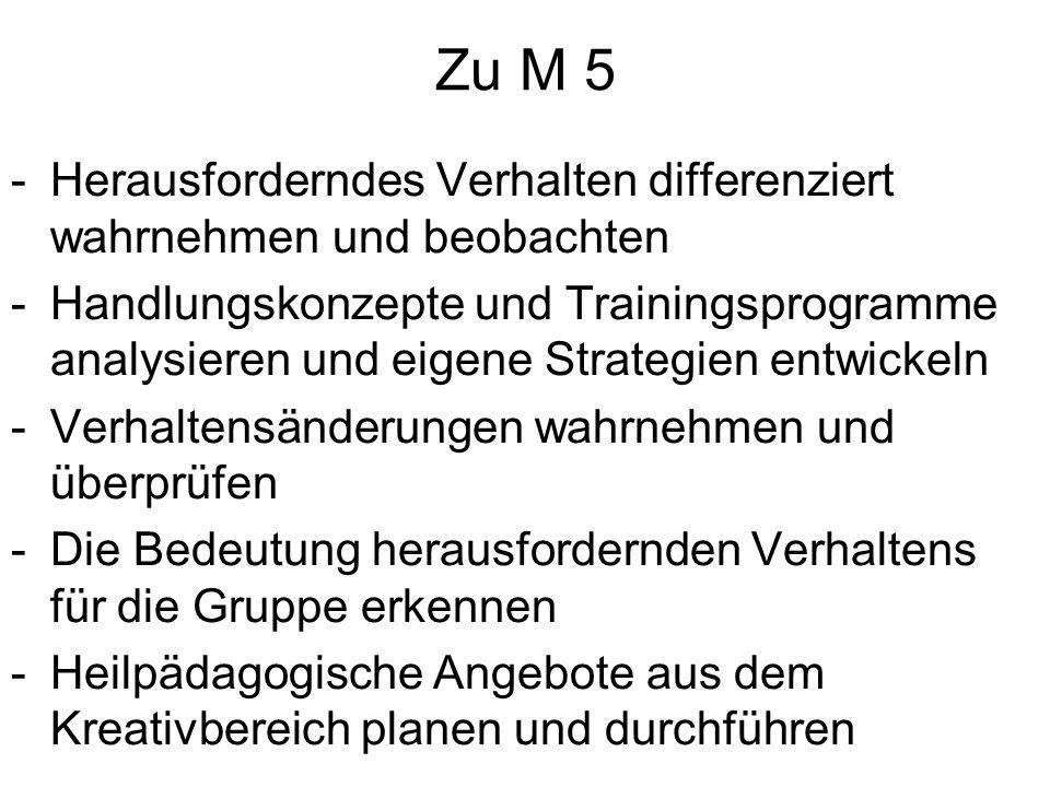 Zu M 5 -Herausforderndes Verhalten differenziert wahrnehmen und beobachten -Handlungskonzepte und Trainingsprogramme analysieren und eigene Strategien