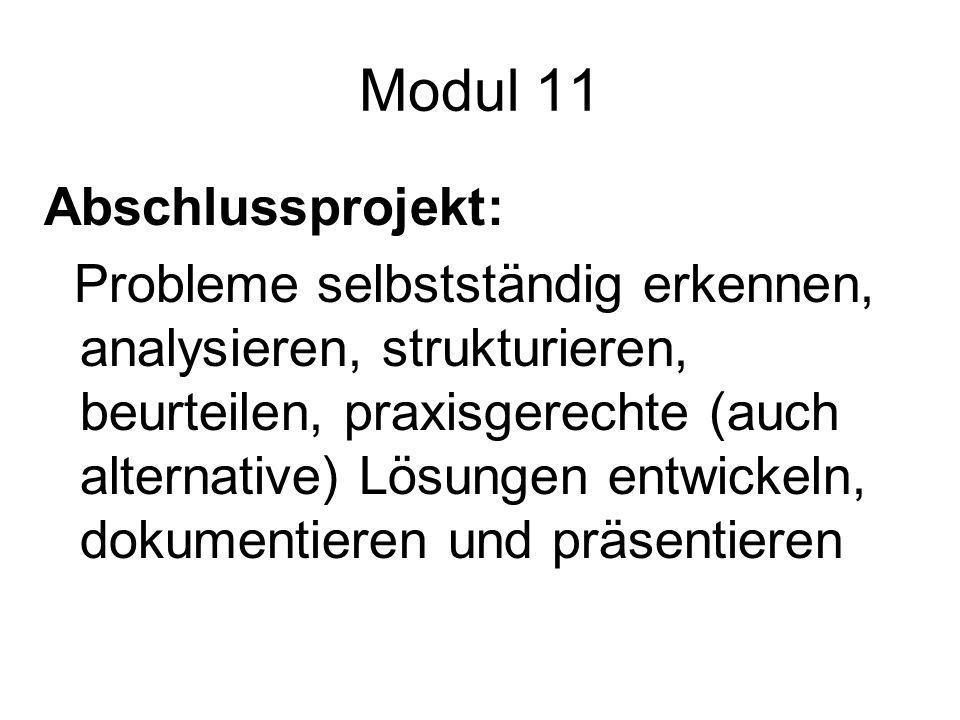 Modul 11 Abschlussprojekt: Probleme selbstständig erkennen, analysieren, strukturieren, beurteilen, praxisgerechte (auch alternative) Lösungen entwick