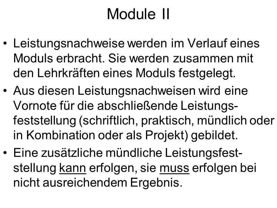 Module II Leistungsnachweise werden im Verlauf eines Moduls erbracht. Sie werden zusammen mit den Lehrkräften eines Moduls festgelegt. Aus diesen Leis