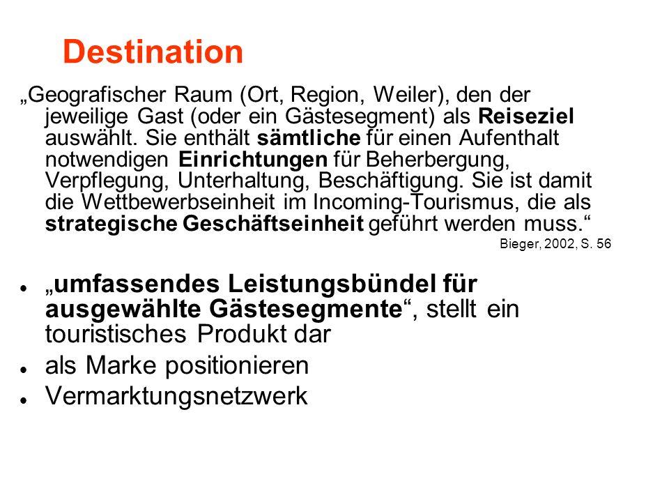 Destination Geografischer Raum (Ort, Region, Weiler), den der jeweilige Gast (oder ein Gästesegment) als Reiseziel auswählt.