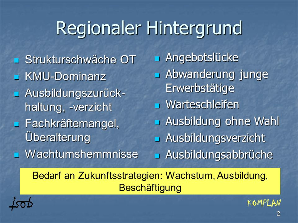 2 Regionaler Hintergrund Strukturschwäche OT Strukturschwäche OT KMU-Dominanz KMU-Dominanz Ausbildungszurück- haltung, -verzicht Ausbildungszurück- ha