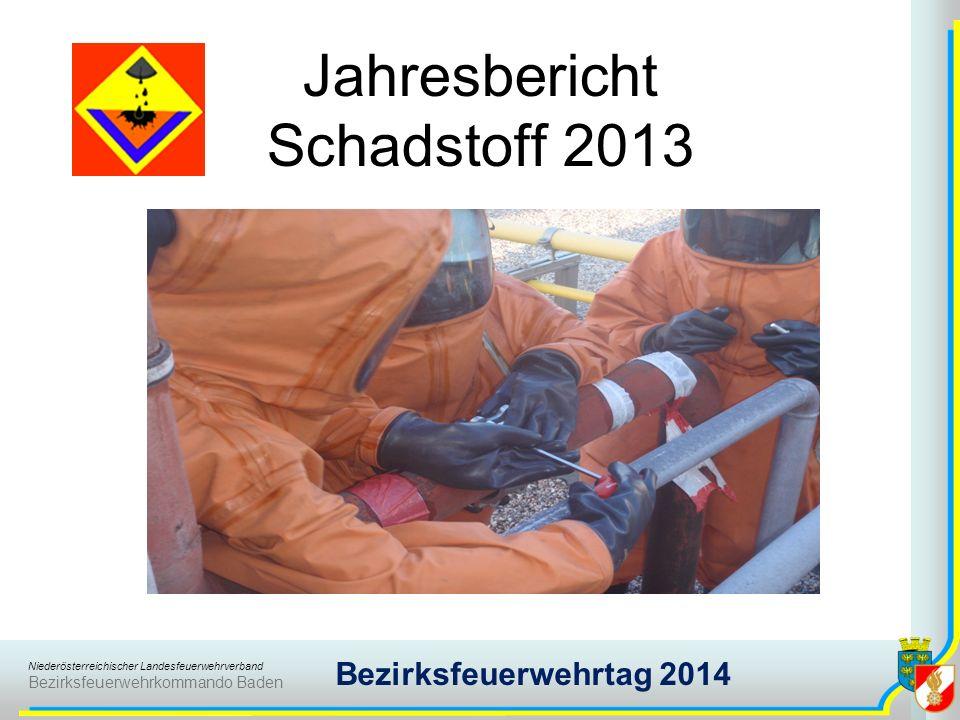 Niederösterreichischer Landesfeuerwehrverband Bezirksfeuerwehrkommando Baden Bezirksfeuerwehrtag 2014 Jahresbericht Schadstoff 2013