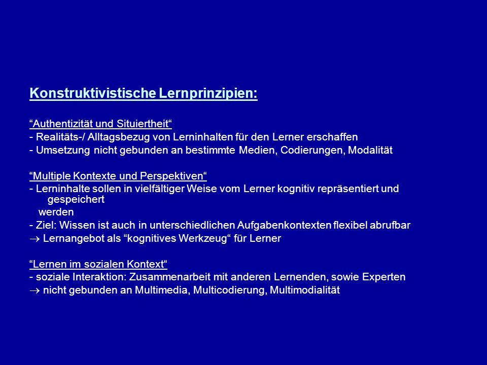 Konstruktivistische Lernprinzipien: Authentizität und Situiertheit - Realitäts-/ Alltagsbezug von Lerninhalten für den Lerner erschaffen - Umsetzung n