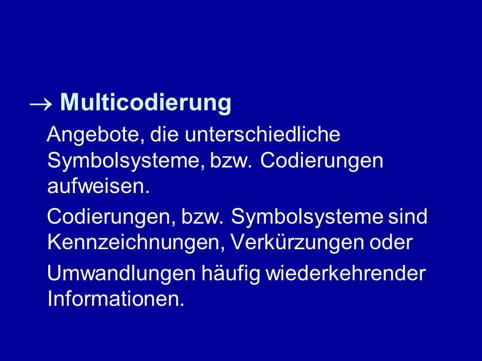 Multicodierung Angebote, die unterschiedliche Symbolsysteme, bzw. Codierungen aufweisen. Codierungen, bzw. Symbolsysteme sind Kennzeichnungen, Verkürz