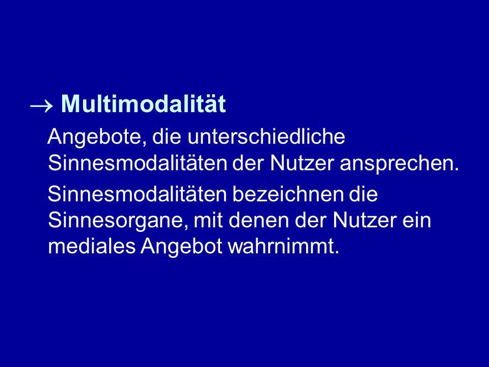 Multimodalität Angebote, die unterschiedliche Sinnesmodalitäten der Nutzer ansprechen. Sinnesmodalitäten bezeichnen die Sinnesorgane, mit denen der Nu