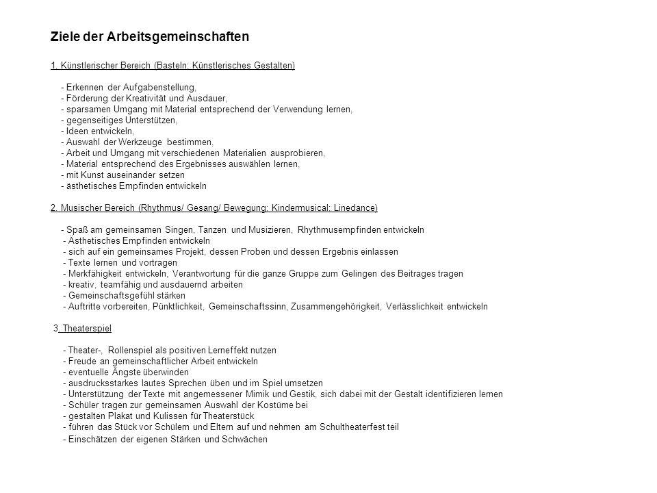Ziele der Arbeitsgemeinschaften 1.