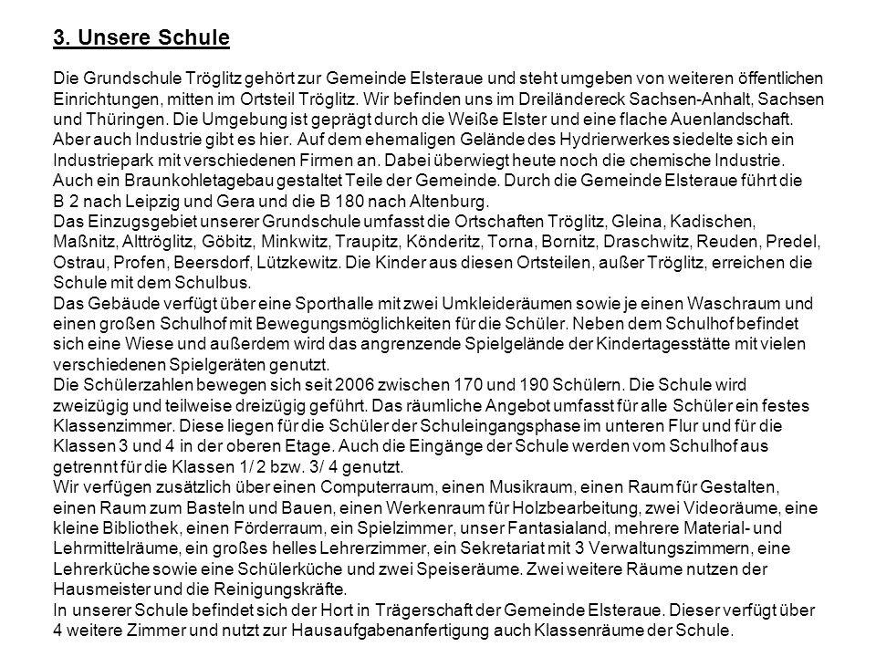 3. Unsere Schule Die Grundschule Tröglitz gehört zur Gemeinde Elsteraue und steht umgeben von weiteren öffentlichen Einrichtungen, mitten im Ortsteil
