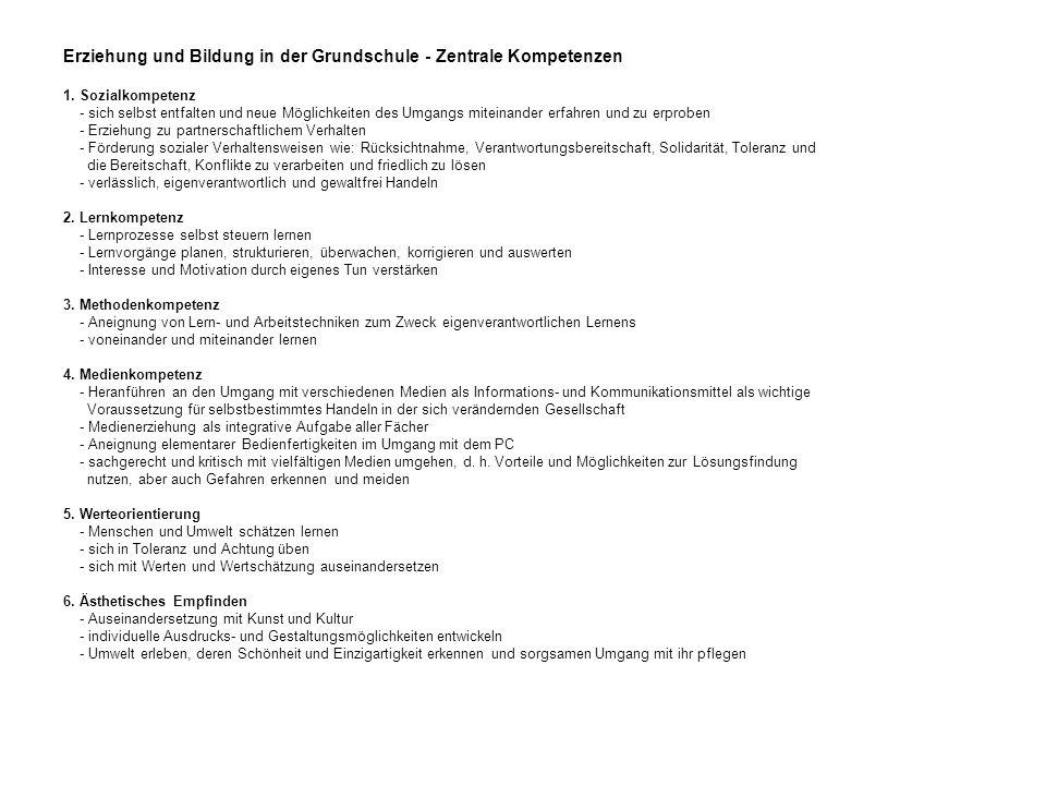 Erziehung und Bildung in der Grundschule - Zentrale Kompetenzen 1.