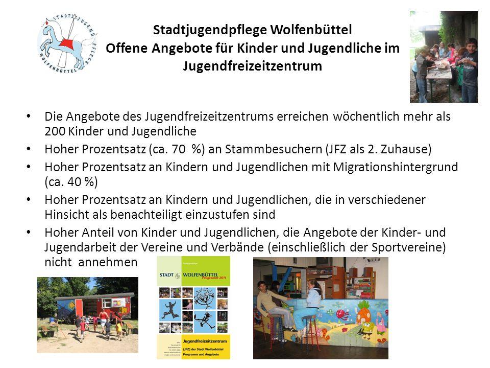 Stadtjugendpflege Wolfenbüttel Offene Angebote für Kinder und Jugendliche im Jugendfreizeitzentrum Die Angebote des Jugendfreizeitzentrums erreichen w
