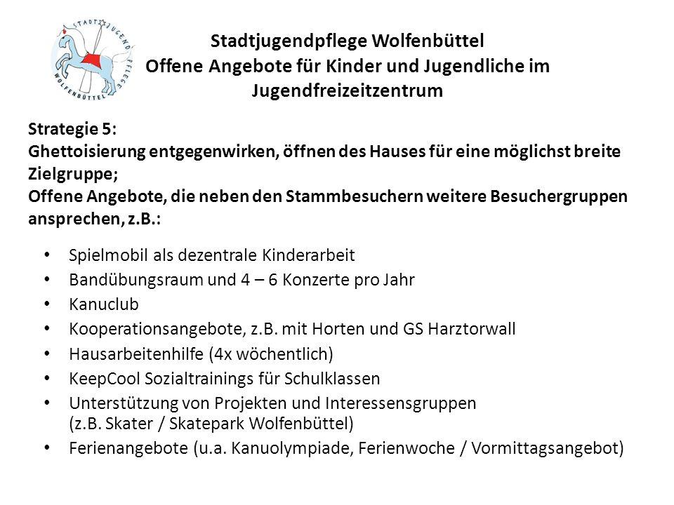 Stadtjugendpflege Wolfenbüttel Offene Angebote für Kinder und Jugendliche im Jugendfreizeitzentrum Spielmobil als dezentrale Kinderarbeit Bandübungsra