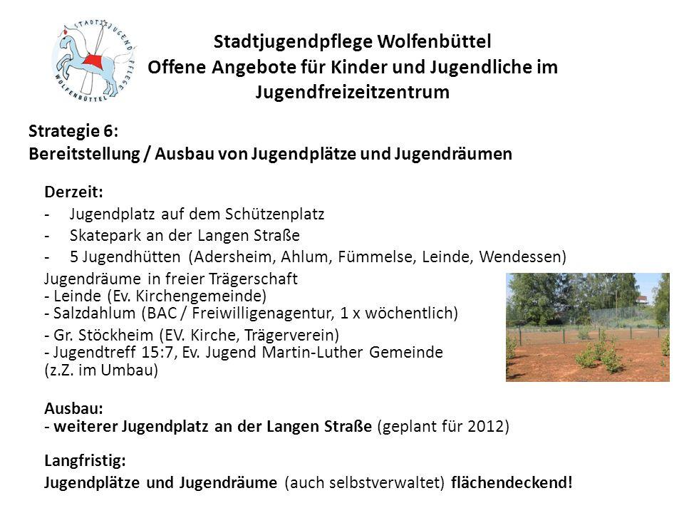 Stadtjugendpflege Wolfenbüttel Offene Angebote für Kinder und Jugendliche im Jugendfreizeitzentrum Derzeit: -Jugendplatz auf dem Schützenplatz -Skatep