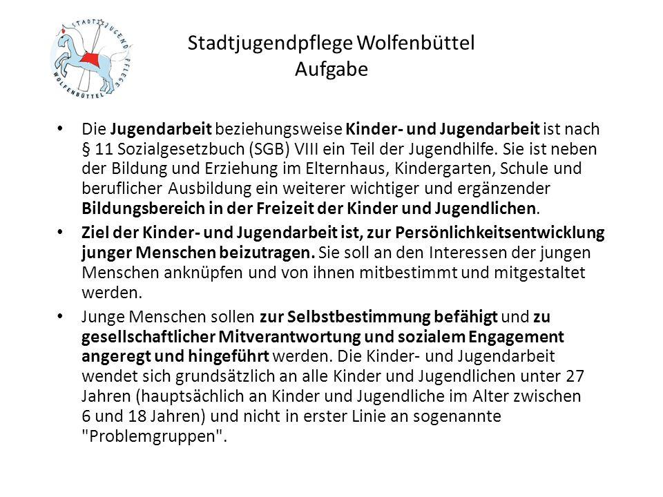 Stadtjugendpflege Wolfenbüttel Offene Angebote für Kinder und Jugendliche im Jugendfreizeitzentrum Die Angebote des Jugendfreizeitzentrums erreichen wöchentlich mehr als 200 Kinder und Jugendliche Hoher Prozentsatz (ca.