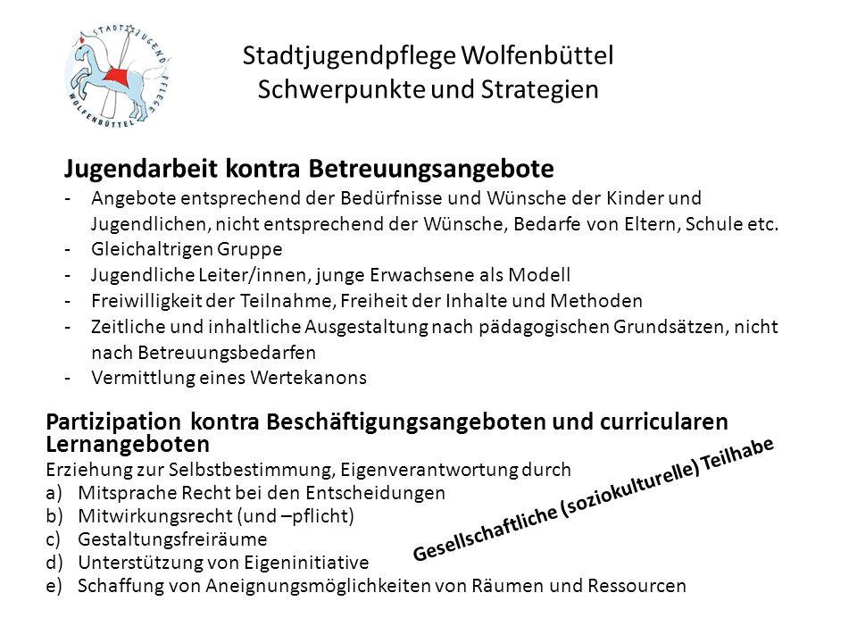 Stadtjugendpflege Wolfenbüttel Schwerpunkte und Strategien Förderung von Fahrten, Lager, Seminaren Seit 2012 durch den Rat der Stadt angehoben, zwischen 3,- und 6,- je Tag/Teilnehmer, Gesamtvolumen ca.