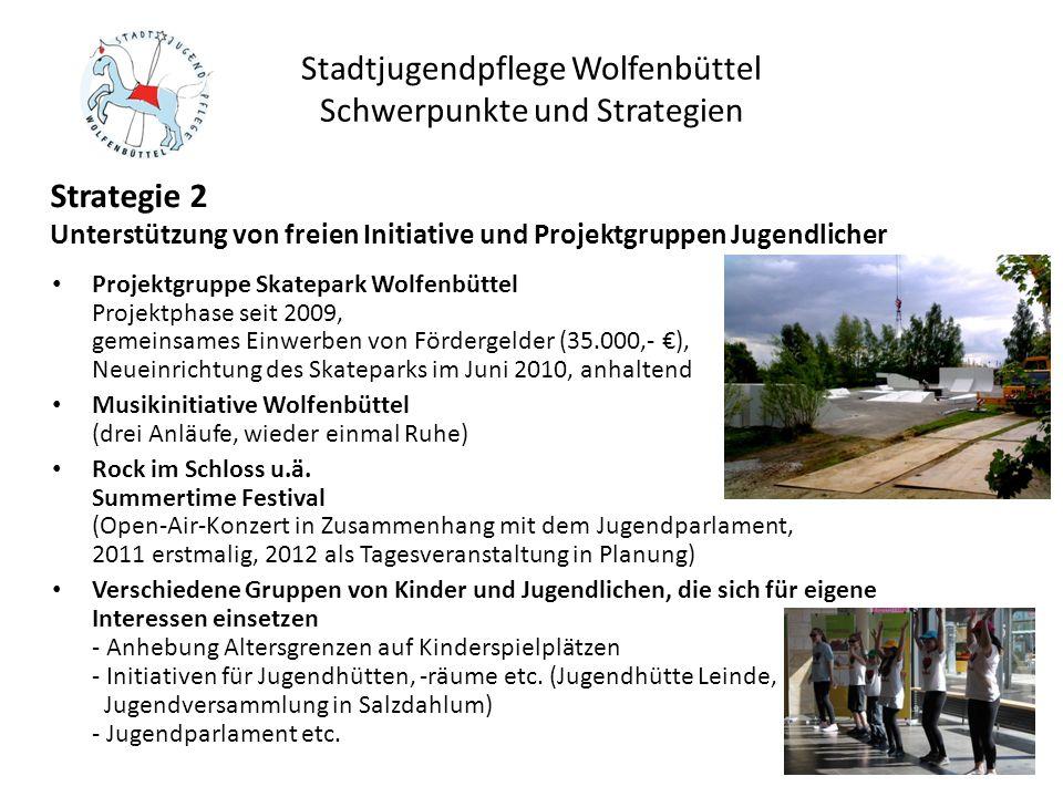 Stadtjugendpflege Wolfenbüttel Schwerpunkte und Strategien Projektgruppe Skatepark Wolfenbüttel Projektphase seit 2009, gemeinsames Einwerben von Förd
