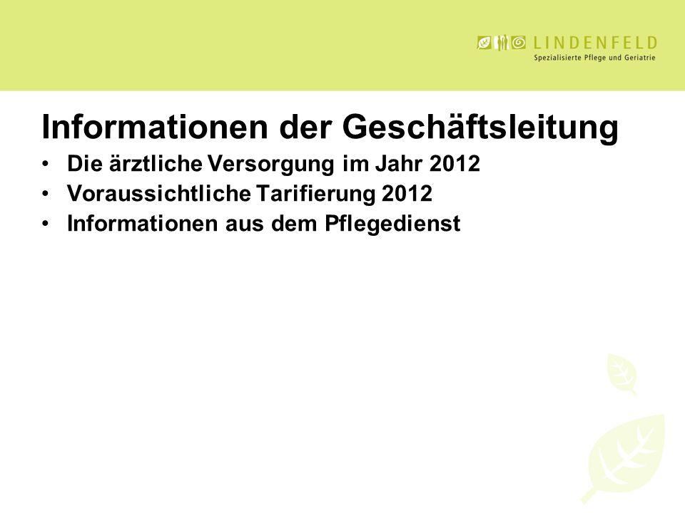 Informationen der Geschäftsleitung Die ärztliche Versorgung im Jahr 2012 Voraussichtliche Tarifierung 2012 Informationen aus dem Pflegedienst