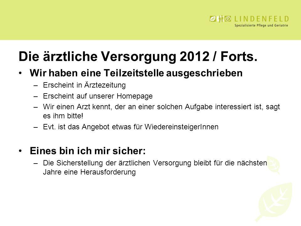 Die ärztliche Versorgung 2012 / Forts. Wir haben eine Teilzeitstelle ausgeschrieben –Erscheint in Ärztezeitung –Erscheint auf unserer Homepage –Wir ei
