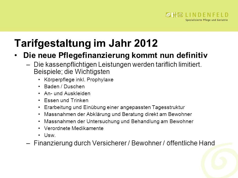 Tarifgestaltung im Jahr 2012 Die neue Pflegefinanzierung kommt nun definitiv –Die kassenpflichtigen Leistungen werden tariflich limitiert. Beispiele;