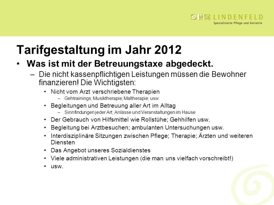 Tarifgestaltung im Jahr 2012 Was ist mit der Betreuungstaxe abgedeckt. –Die nicht kassenpflichtigen Leistungen müssen die Bewohner finanzieren! Die Wi