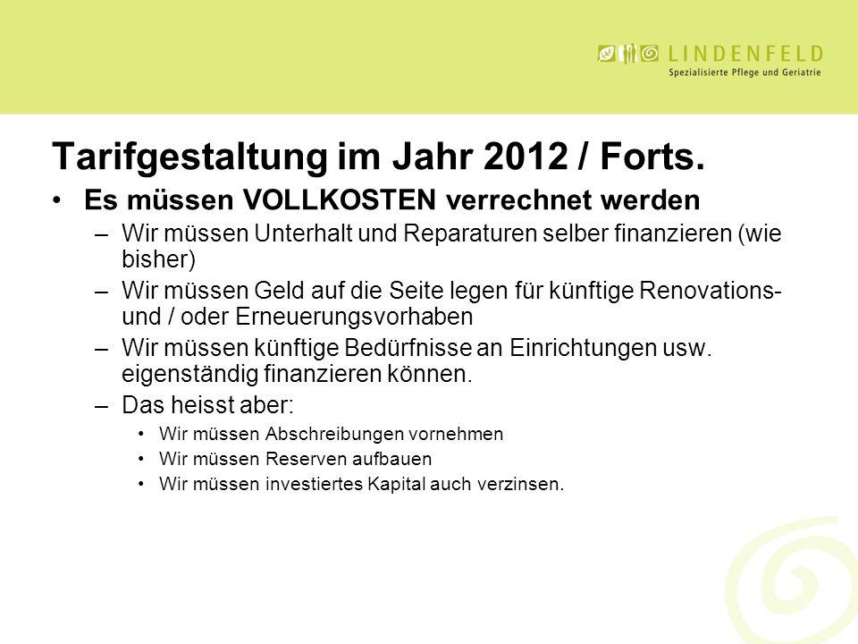 Tarifgestaltung im Jahr 2012 / Forts. Es müssen VOLLKOSTEN verrechnet werden –Wir müssen Unterhalt und Reparaturen selber finanzieren (wie bisher) –Wi