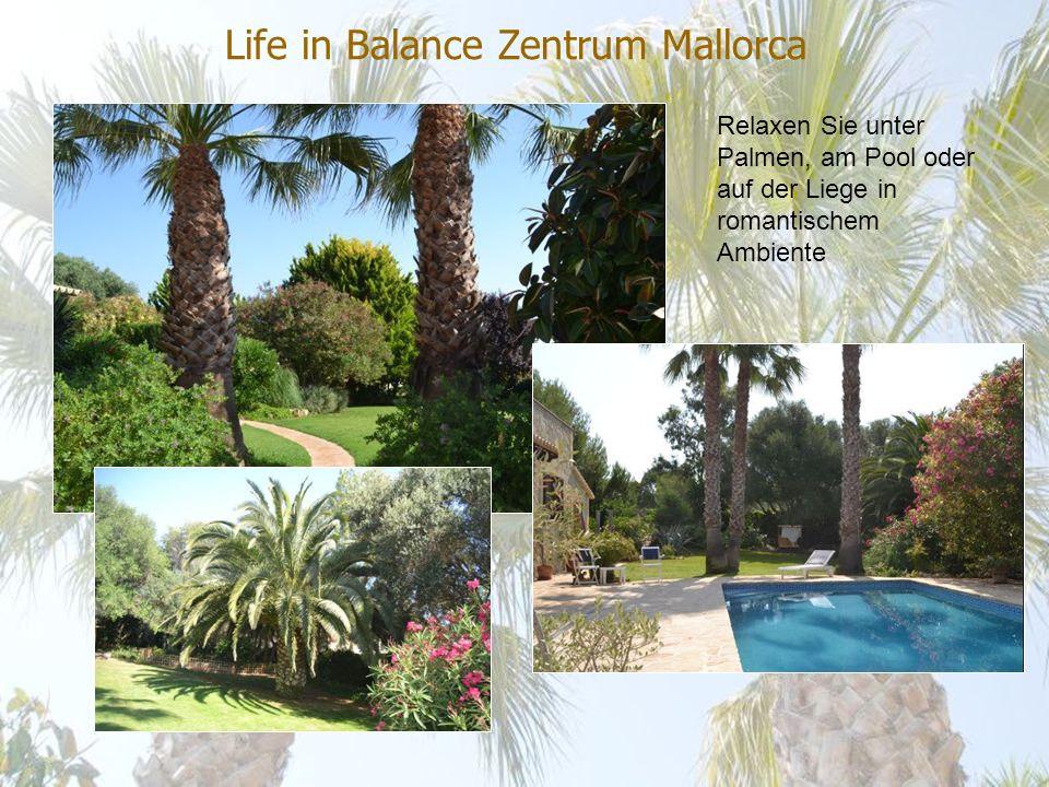 Life in Balance Zentrum Mallorca Unsere Ruhezone im Garten und am Pool