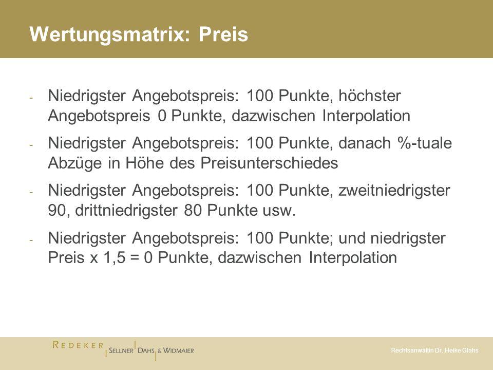 Rechtsanwältin Dr. Heike Glahs Wertungsmatrix: Preis - Niedrigster Angebotspreis: 100 Punkte, höchster Angebotspreis 0 Punkte, dazwischen Interpolatio