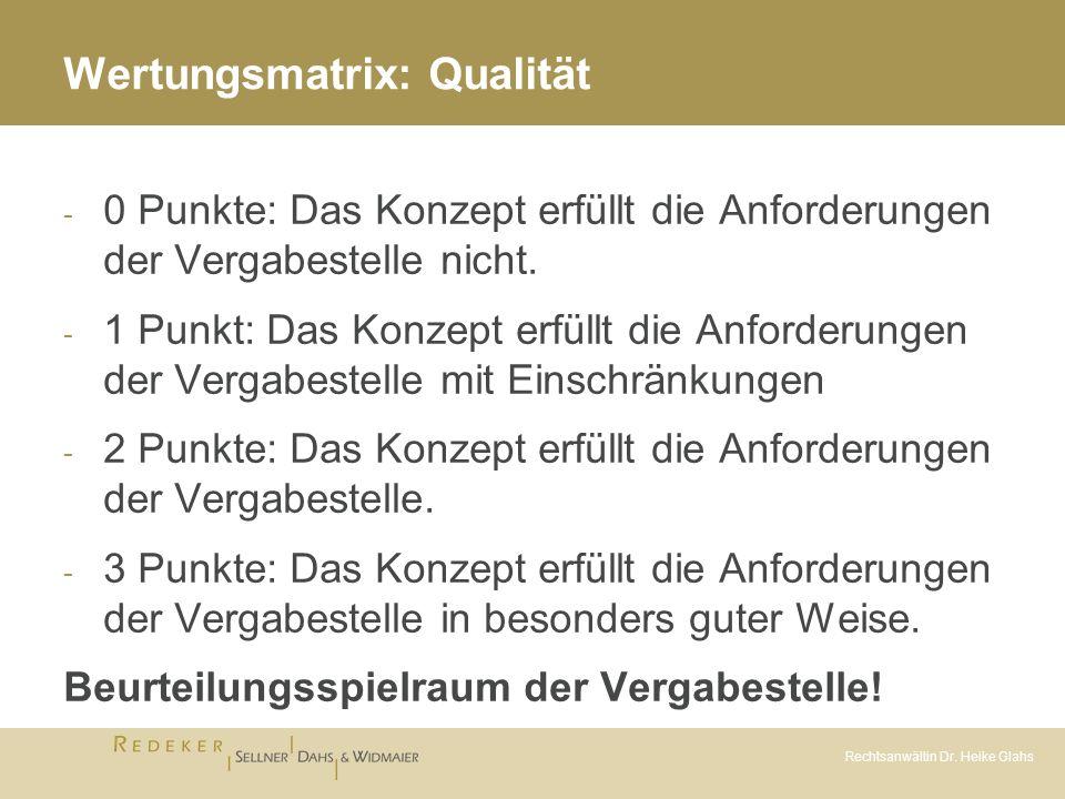 Rechtsanwältin Dr. Heike Glahs Wertungsmatrix: Qualität - 0 Punkte: Das Konzept erfüllt die Anforderungen der Vergabestelle nicht. - 1 Punkt: Das Konz