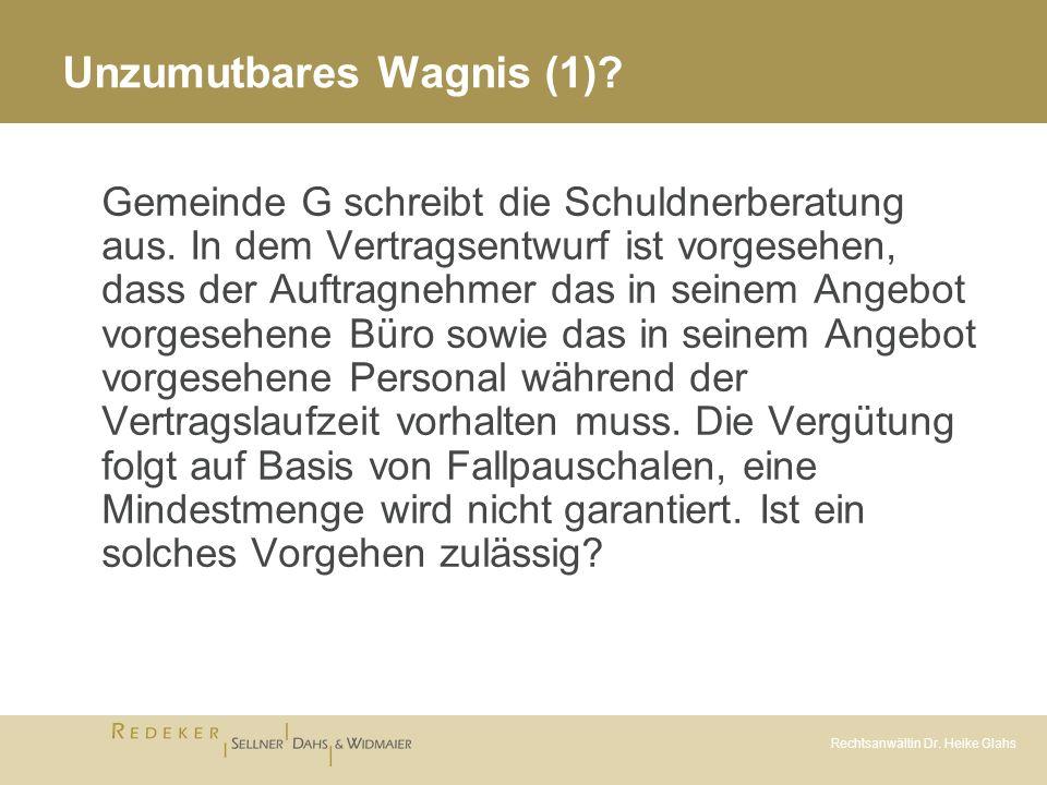 Rechtsanwältin Dr.Heike Glahs Unzumutbares Wagnis (1) - Vgl.