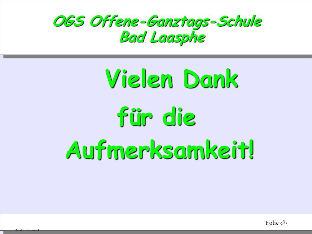 Vortragender: Sabine RothenpielerDatum:05.03.08Folie 10 Datei: Unbenannt1 OGS Offene-Ganztags-Schule Bad Laasphe Vielen Dank für die Aufmerksamkeit!