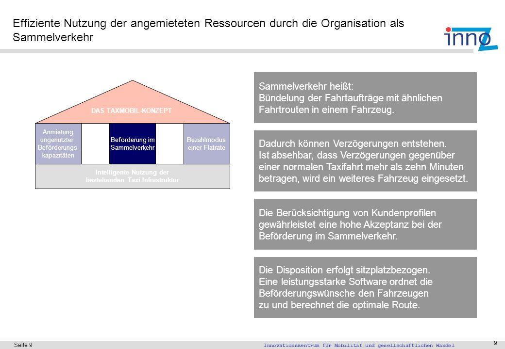 Innovationszentrum für Mobilität und gesellschaftlichen Wandel Seite 9 9 Effiziente Nutzung der angemieteten Ressourcen durch die Organisation als Sam