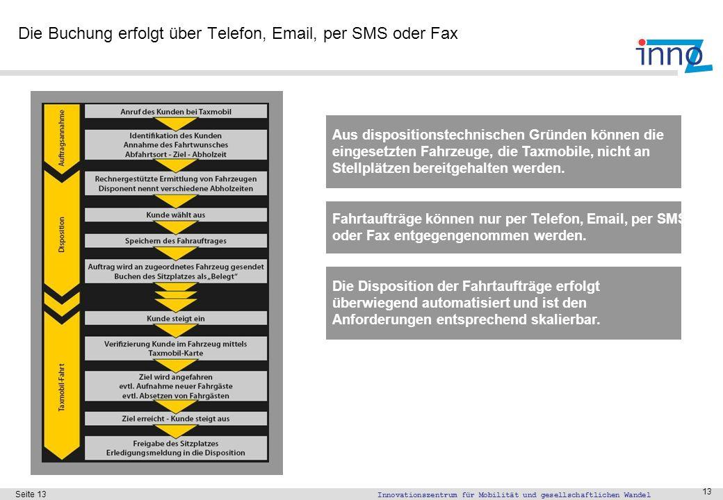 Innovationszentrum für Mobilität und gesellschaftlichen Wandel Seite 13 13 Die Buchung erfolgt über Telefon, Email, per SMS oder Fax Die Disposition d