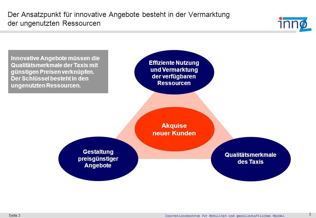 Innovationszentrum für Mobilität und gesellschaftlichen Wandel Seite 3 3 Der Ansatzpunkt für innovative Angebote besteht in der Vermarktung der ungenu