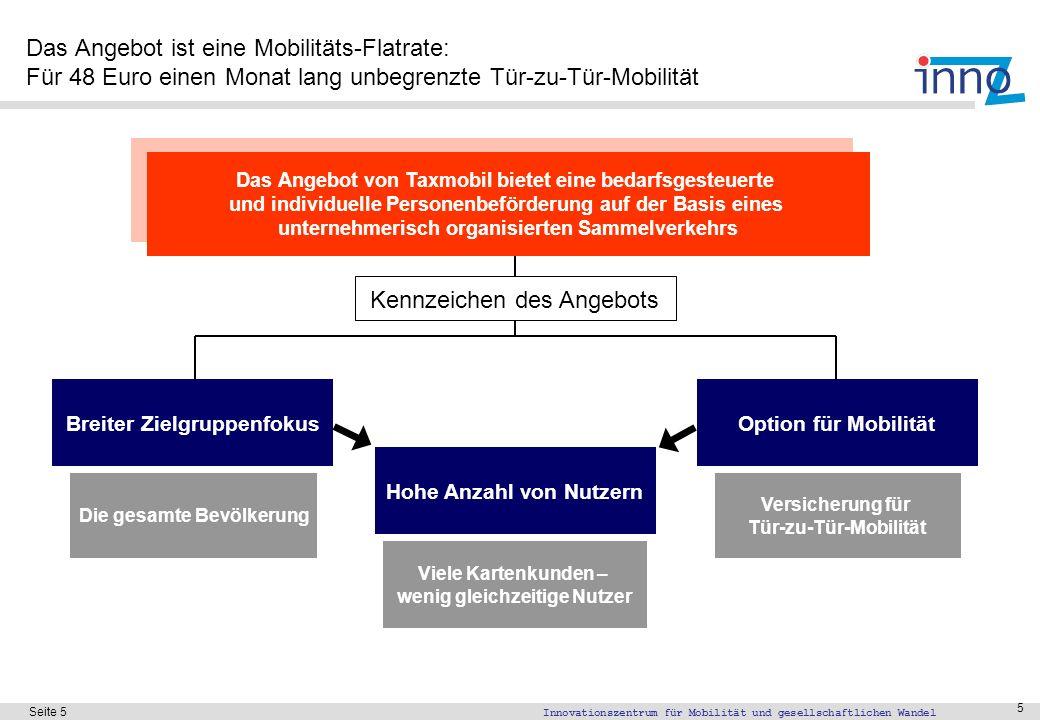 Innovationszentrum für Mobilität und gesellschaftlichen Wandel Seite 5 5 Das Angebot ist eine Mobilitäts-Flatrate: Für 48 Euro einen Monat lang unbegr