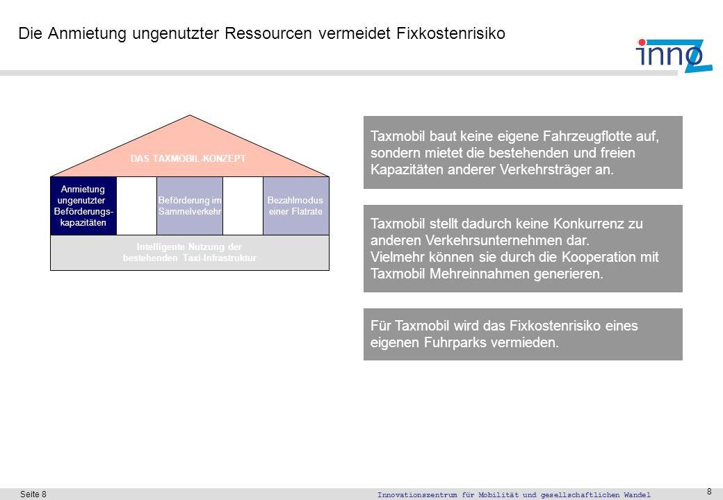 Innovationszentrum für Mobilität und gesellschaftlichen Wandel Seite 8 8 Die Anmietung ungenutzter Ressourcen vermeidet Fixkostenrisiko Taxmobil baut
