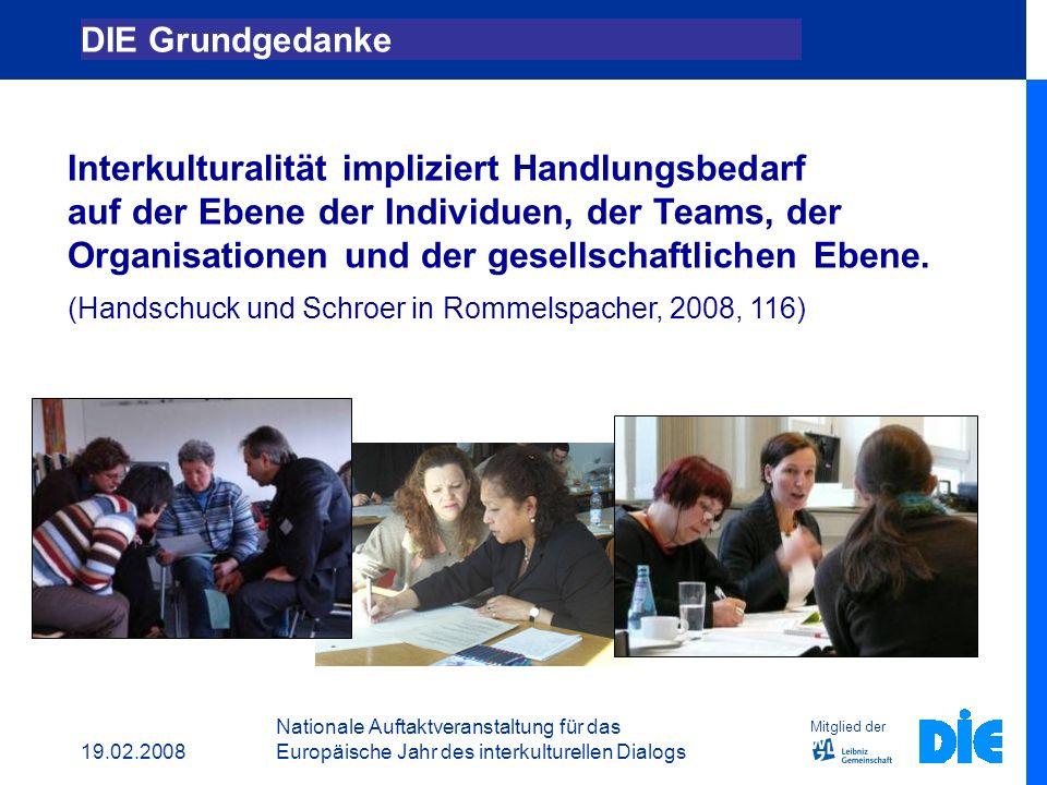 19.02.2008 Nationale Auftaktveranstaltung für das Europäische Jahr des interkulturellen Dialogs DIE Grundgedanke Das EICP Projekt: 3 Fortbildungskonzepte DIE EICP Merkmale Nachhaltigkeit Perspektiven Mitglied der Gliederung