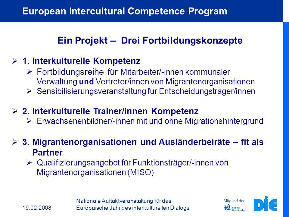 19.02.2008 Nationale Auftaktveranstaltung für das Europäische Jahr des interkulturellen Dialogs Mitglied der DIE Grundgedanke Interkulturalität impliziert Handlungsbedarf auf der Ebene der Individuen, der Teams, der Organisationen und der gesellschaftlichen Ebene.