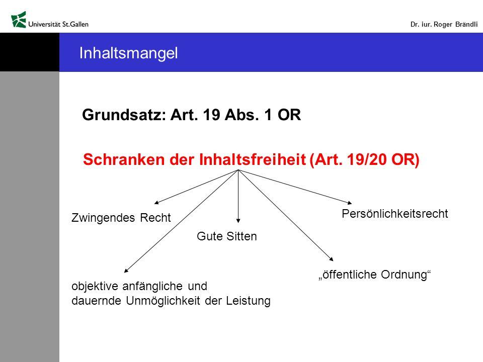 Dr. iur. Roger Brändli Inhaltsmangel Grundsatz: Art. 19 Abs. 1 OR Schranken der Inhaltsfreiheit (Art. 19/20 OR) objektive anfängliche und dauernde Unm