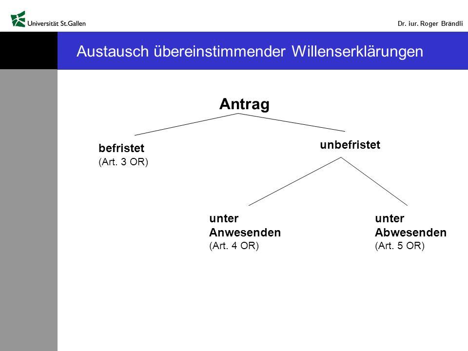 Dr. iur. Roger Brändli Austausch übereinstimmender Willenserklärungen Antrag befristet (Art. 3 OR) unbefristet unter Abwesenden (Art. 5 OR) unter Anwe